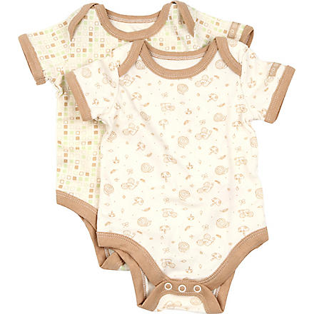 NATURES PUREST Tiny Squares set of two bodysuits 3-6 months (Cream/brown