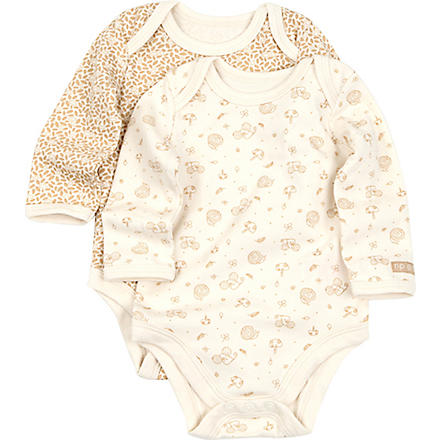 NATURES PUREST Little Leaves set of two bodysuits 3-6 months (Cream/brown
