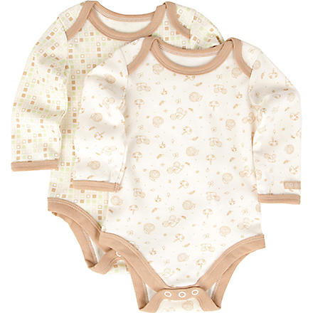 NATURES PUREST Tiny Squares set of two bodysuits 0-6 months (Cream/brown