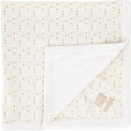 NATURES PUREST Tiny Squares Velour Blanket (Cream/brown