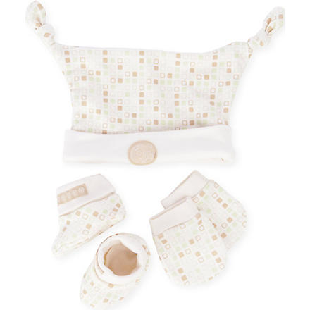 NATURES PUREST Tiny Squares Hat Mitts and Bootees set (Cream/brown