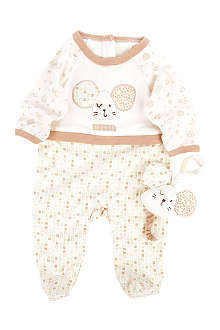 NATURES PUREST Tiny Squares baby-grow and toy 0-3 months