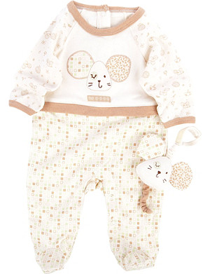 NATURES PUREST Tiny Squares babygrow and toy 0-3 months