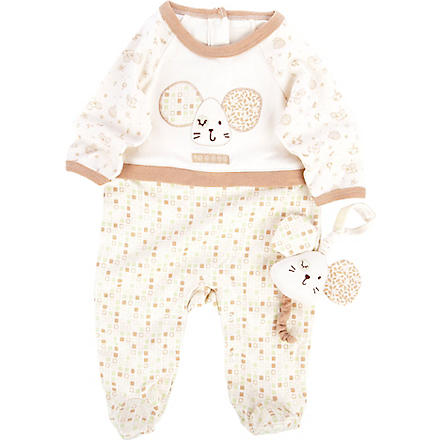 NATURES PUREST Tiny Squares baby-grow and toy 0-3 months (Cream/brown