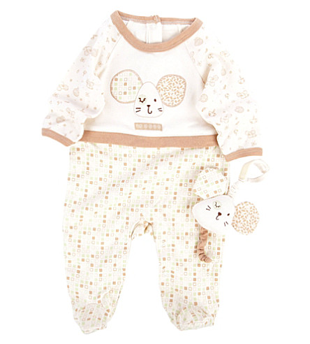 NATURES PUREST Tiny Squares babygrow and toy 0-3 months (Cream/brown