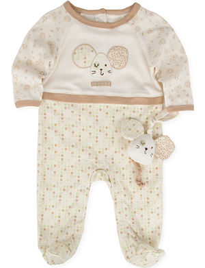 NATURES PUREST Tiny Squares babygrow and toy 3-6 months