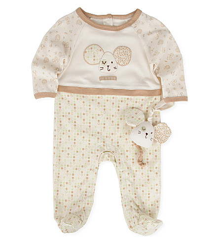 NATURES PUREST Tiny Squares baby-grow and toy 3-6 months (Cream/brown
