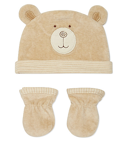 NATURES PUREST Hat & mitts 0-6 months (White