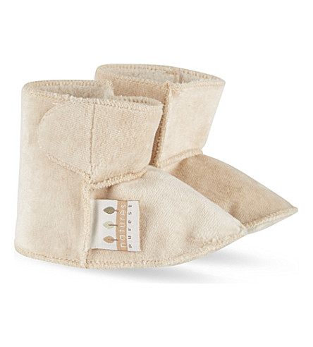 NATURES PUREST Velour boots 0-6 months (White