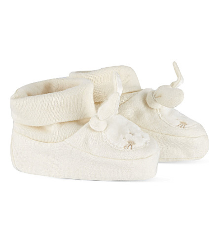 NATURES PUREST Bunny bootees 0-6 months (White