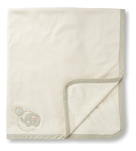 NATURES PUREST Teddy & Ele velour pram blanket (Cream
