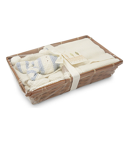 NATURES PUREST Bunny cotton baby hamper 0-6 months (White/blue