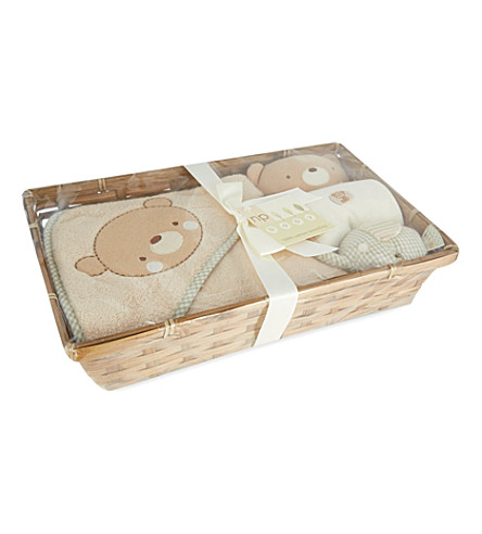 NATURES PUREST Teddy and elephant baby hamper (White