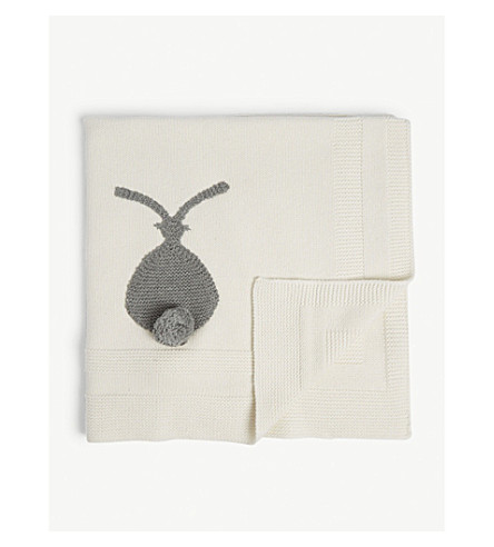 STELLA MCCARTNEY Bunny knitted cotton-blend blanket (Cloud