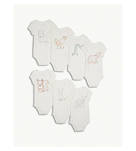 STELLA MCCARTNEY Sammie days-of-the-week cotton bodysuit set 3-9 months (Cloud