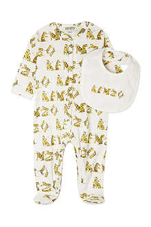 KENZO tiger logo bib and sleepsuit 1-9 months