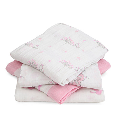 ADEN + ANAIS Pack of four For The Birds swaddles