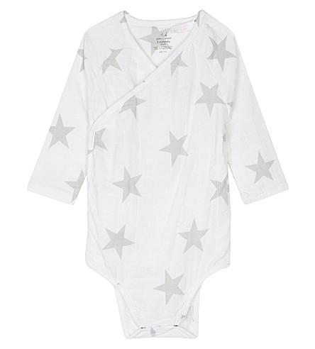 ADEN + ANAIS Star print cotton kimono bodysuit 3-6 months (White