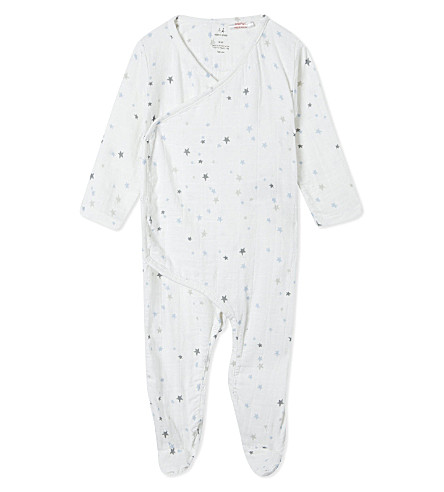 ADEN + ANAIS Star print kimono baby-grow 3-6 months (Nighty+sky+starburst