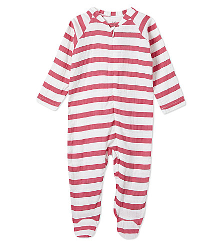 ADEN + ANAIS Striped cotton sleepsuit 0-3 months (Pink+blazer