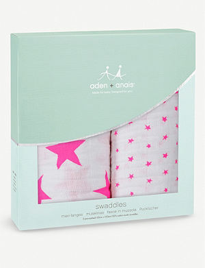 ADEN + ANAIS Pre-washed cotton swaddles pack of two
