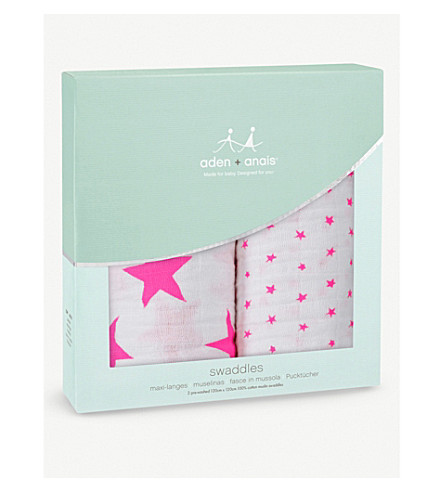 ADEN + ANAIS Pre-washed cotton swaddles pack of two (Fluro+pink