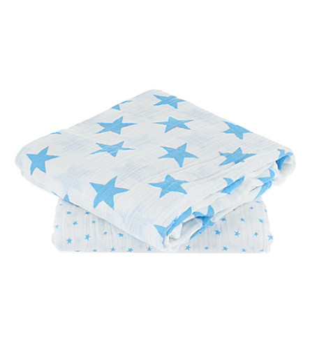 ADEN + ANAIS Set of two muslin swaddles (Fluro+blue