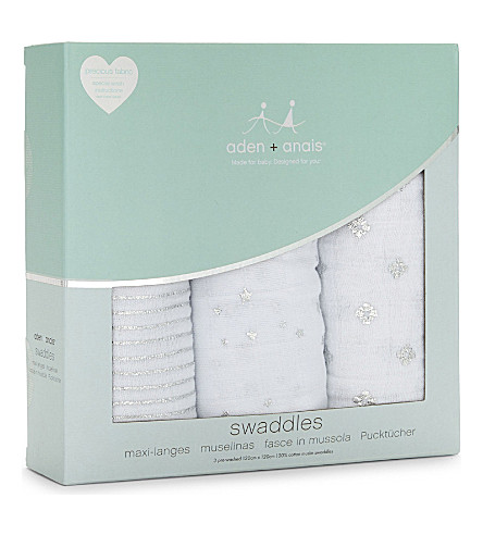 ADEN + ANAIS Set of three Metallic Silver swaddles (White/silver
