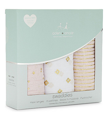 ADEN + ANAIS Set of three Primrose swaddles (Pink/gold