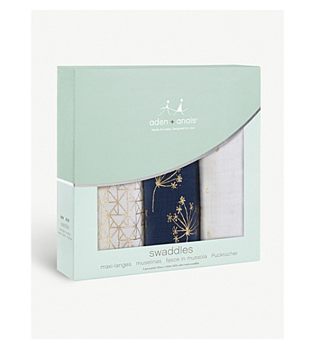 ADEN + ANAIS Set of three Gold Deco swaddles (Gold+deco