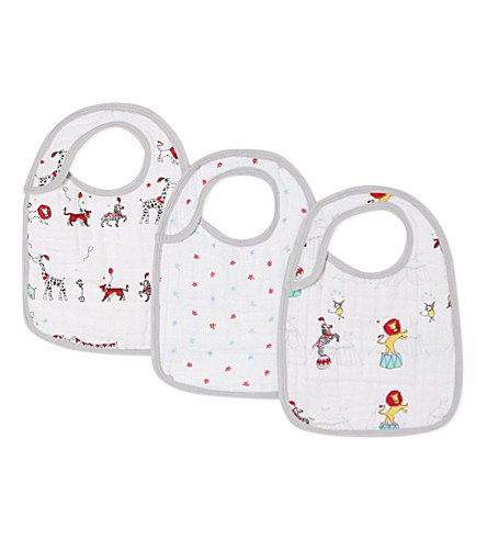 ADEN + ANAIS Set of three vintage circus snap bibs (Vintage+circus
