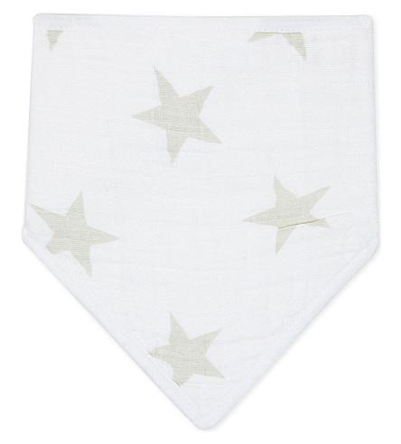 ADEN + ANAIS Stardust cotton muslin bandana bib (White/grey