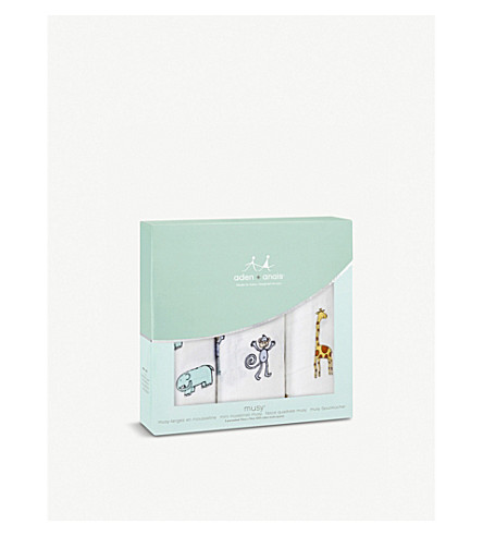 ADEN + ANAIS Set of three Jungle Jam muslin cloths