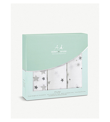 ADEN + ANAIS Set of three Twinkle Twinkle muslin cloths
