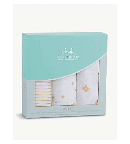 ADEN + ANAIS Metallic Gold set of three cotton muslin musy® squares (White/gold