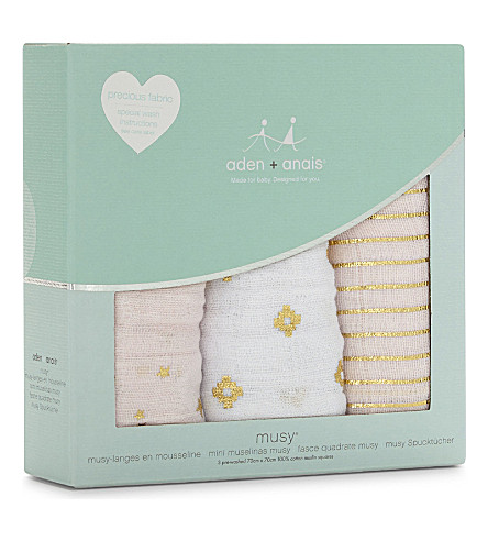 ADEN + ANAIS Metallic Primrose set of three cotton muslin musy® squares (Pink/gold