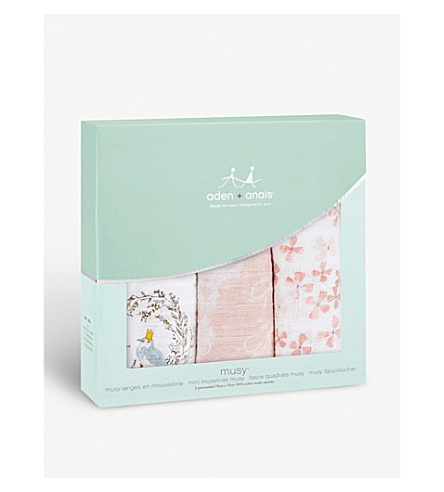 ADEN + ANAIS Set of three Birdsong muslin squares (Birdsong