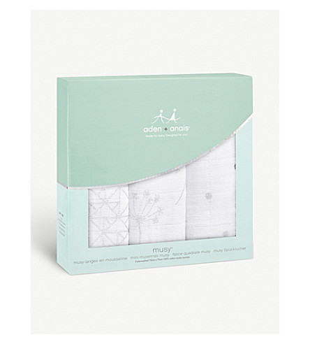 ADEN + ANAIS Set of three Silver Deco muslin squares (Silver+deco