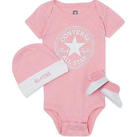 CONVERSE Three-piece baby gift set 0-6 months (Pink