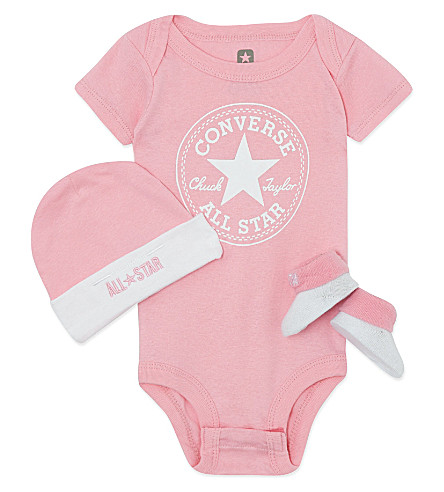 CONVERSE Three-piece baby gift set 0-6 months (Pink