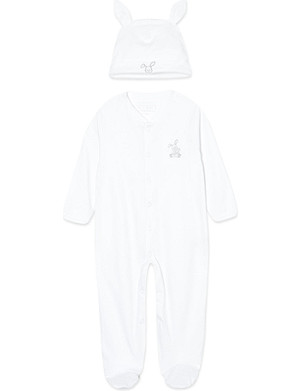 MY 1ST YEARS Velour bunny sleepsuit and hat 6-12 months