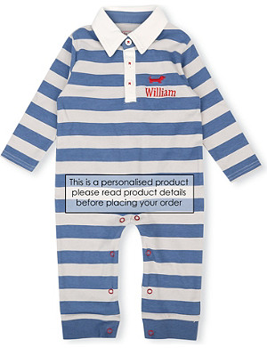 MY 1ST YEARS Striped polo sleepsuit 6-12 months