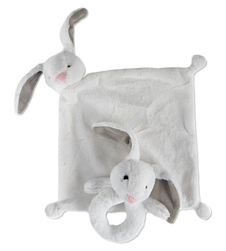 MY 1ST YEARS Fluffy bunny comforter and rattle set (White