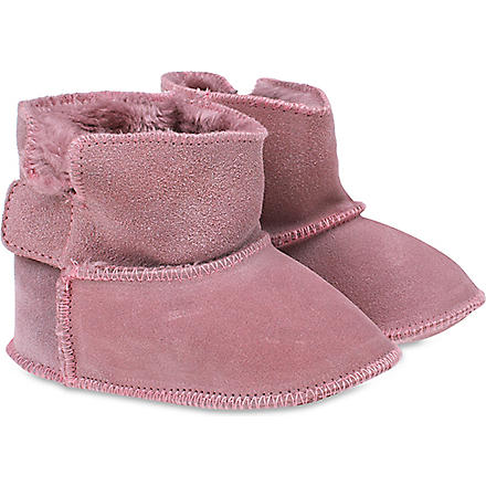 MY 1ST YEARS Suede sheepskin booties (Pink