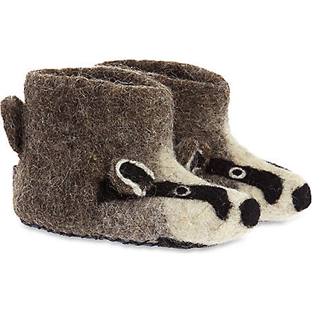 SEW HEART FELT Billie badger slippers newborn - 5 years (Grey