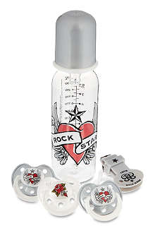 ROCK STAR BABY Heart and wings bottle gift set