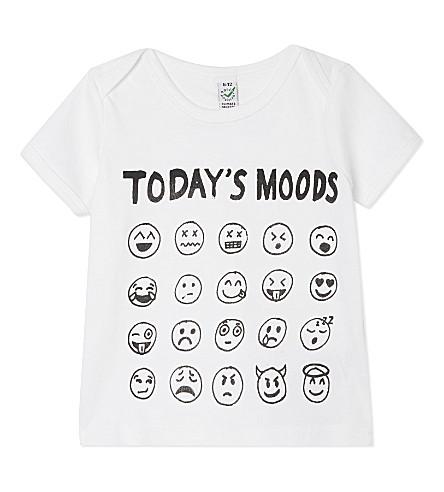 BLACK SCORE Today's mood emoji t-shirt 0-12 months (White