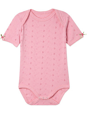 CLAESENS Pink broderie anglaise romper 3-18 months