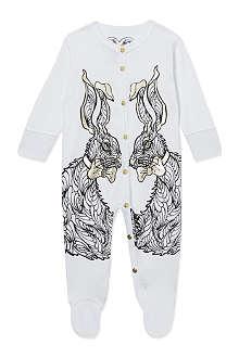 KAREN BROST Bunny print sleepsuit 0-12 months