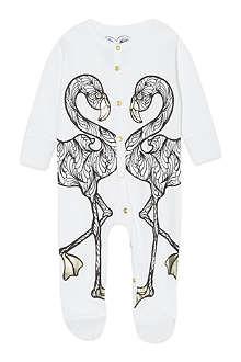 KAREN BROST Flamingo print sleepsuit 0-12 months